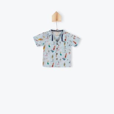 E17GC01-chemise-bebe-garcon-manches-courtes-bleu-ciel-imprime-surfeurs-arsene-pipelettes